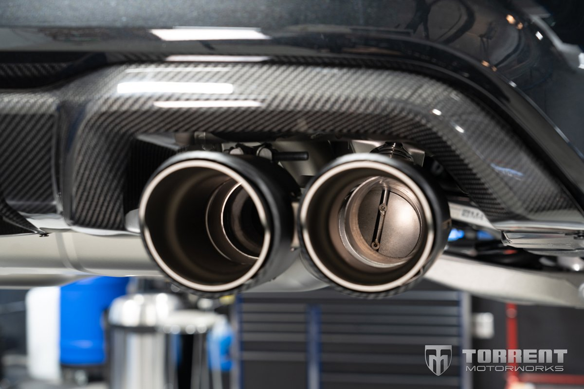 BMW M2 CS Akrapovic exhaust carbon fiber tips | Torrent Motorworks
